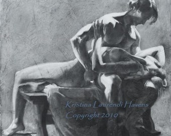 """Original Charcoal Drawing of a Man Holding a Woman - """"Come Back to my Heart"""""""