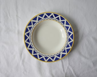 vintage blue white checkered plates-Squared pattern-Vintage assiettes