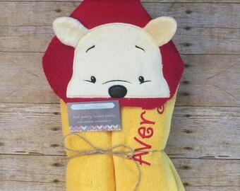 Winnie the Pooh bear hooded towel, kids present, pool, beach and bathroom
