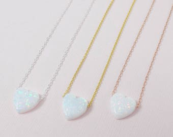 White Heart Necklace / White Opal Heart Pendant /  Sterling Silver Heart Necklace / Heart Necklace /  Love Necklace / Valentines Day Gift