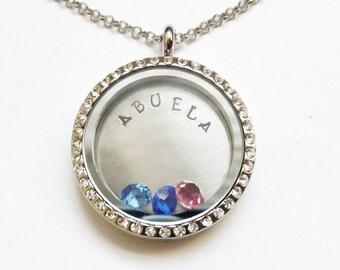 ABUELA - Silver Rhinestone Edge or Custom Floating Charm Locket - Memory Locket - Hand Stamped Gift for Abuela