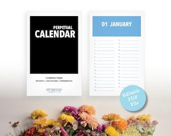 Editable PDF, Printable Perpetual Calendar - Modern Color Block Eternal Birthday, Anniversary, Calendar - Instant Download PDF