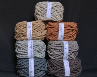 Hand dyed cotton Rug Yarn Colors:  Natural, Gray, Silver, Ecru, Brown, Mushroom, Spice