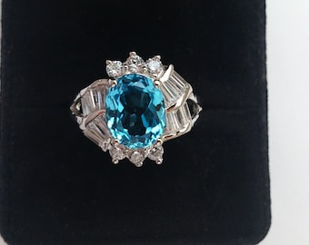 Genuine swiss blue topaz 3,02ct/10x8mm, 925 sterling silver ring, rhodinated (looks like white gold)