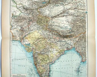 India & Central Asia: Original 1896 Map by Velhagen and Klasing. Antique