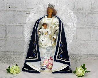 Lovely vintage Madonna Virgin Mary Infant Jesus Wax Doll Figurine Blue Coat