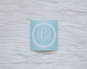 Personalized Monogram Vinyl Decal | Scalloped Decal