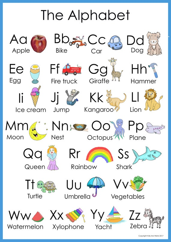 Digital Abc Poster Alphabet Poster Abc Print Animal Poster