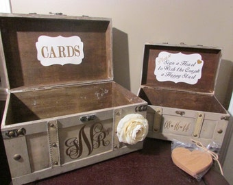 Vintage Wedding Card Box Holder and Guestbook Trunk, Vintage Trunk Card Box and Guestbook with Hearts, Card Box and Guest Book Combo A1A
