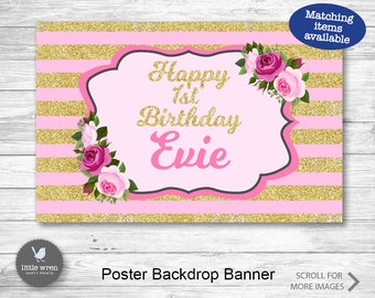 Pink and gold backdrop, pink gold poster, pink gold party backdrop, pink and gold banner, pink gold birthday, pink gold birthday backdrop
