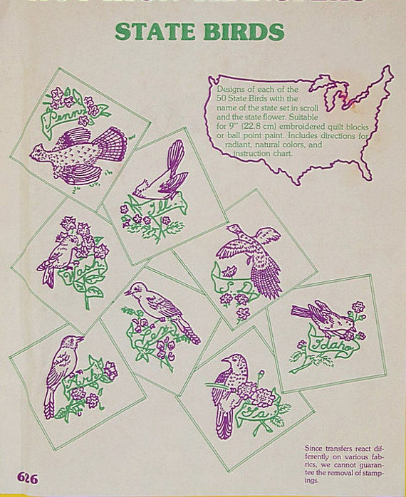 Aunt marthas 626 state birds state flowers embroidery transfers aunt marthas 626 state birds state flowers embroidery transfers usa hot iron vintage retro do it yourself diy embroidery pattern from solutioingenieria Images