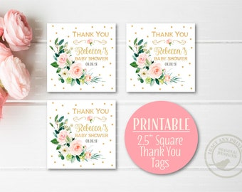 Thank you Custom Squares   Baby sShower Favour tags   Rose Baby Shower   Pink and Gold Printable Thank You Tags    0802