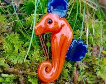 Orange Seahorse Pendant