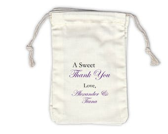 Sweet Thank You Personalized Cotton Bags for Wedding Favors in Purple - Ivory Fabric Drawstring Bags - Set of 12 (1011)