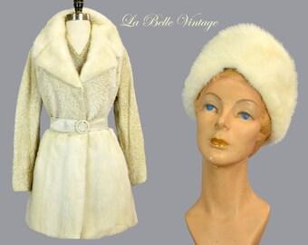 White Mink Fur Belted Coat Hat Vintage 70s Ivory Persian Lamb Jacket ~ Deadstock Original Tags