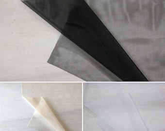 Sheer Cup Lining / Marquisette Mesh | Black, White & Latte | by the 1/2 meter