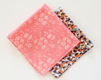 Coral Pocket Square, Liberty of London Pocket Square, Custom Pocket Square, Orange Pocket Square, Floral Pocket Square, cotton wedding hanky