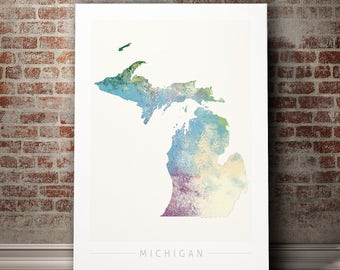 Michigan Map - State Map of Michigan - Art Print Watercolor Illustration Wall Art Home Decor Gift - NATURE PRINT
