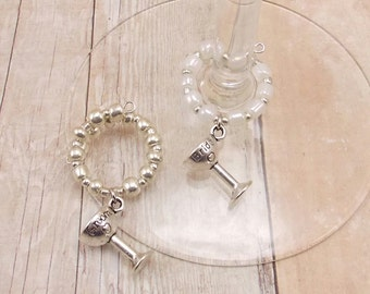 Wedding Wine Glass Charms - Bride & Groom - Set of 2 with Silver and White or Choose Your Colors