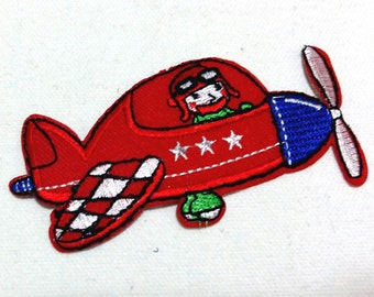Red Mini Plane (10 x 5 cm) Kid Patch Embroidered Iron on Applique Patch (TN)