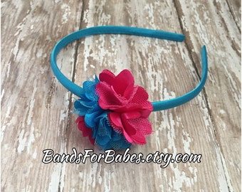 Pink and Teal Satin and Tulle Flower Headband, Girls Hot Pink and Blue Basic Headband, Toddler Hair Accessory, Adult Satin Wrapped Headband