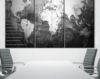 World Map Canvas, World Map Antique, Antique Map, Large Map, Custom Wall Decor, Canvas Art, Canvas Map, Wall decor, Black and white canvas