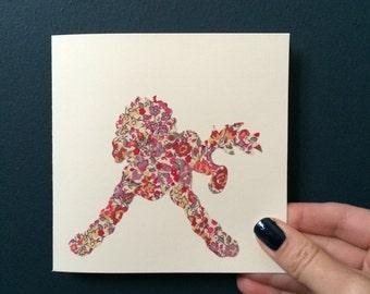 Liberty London Golden Doodle (Design 1) silhouette handmade greeting card