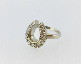 Diamond 14k White Gold Lucky Horse Shoe Ring