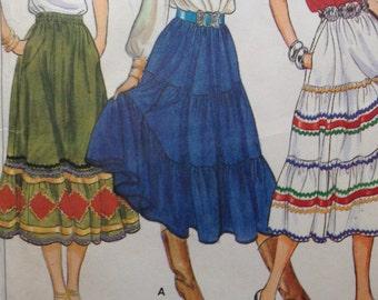 Butterick 4260 Prairie Skirt Pattern / Tiered Skirt / size 10 / UNCUT