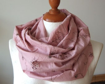 Circle Scarf Infinity Scarf, Loop, wrinkled dusty pink and embroidered flowers in cream and browns spring collection