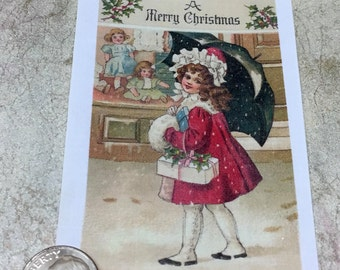 """Little Girl with Umbrella Vintage Fusible Image approx 2 3/4"""" x 3"""""""