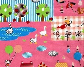 Cute Animals Pink (PW) Japanese Fabric - Half Yard