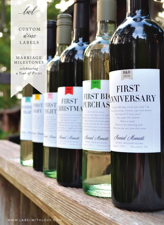 Milestones Wine Labels Wedding Gift First Anniversary Bridal