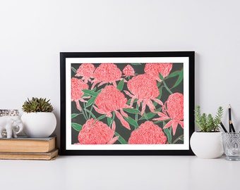 Waratah Flower Lino Block Print / Native Plant / Handmade Wall Art