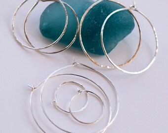 Handmade Sterling Silver Hoops, Artisan Hoop Earrings, Hoops for Interchangeable Earring Dangles, Choose your Size Hoop, Minimalist