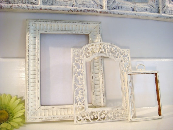 Distressed frames, white frames, picture frame collection, shabby ...
