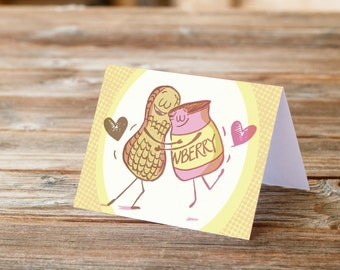 PB & J Peanut Butter and Jelly Love Greeting Card Boyfriend girlfriend cute characters pun love dating sweet