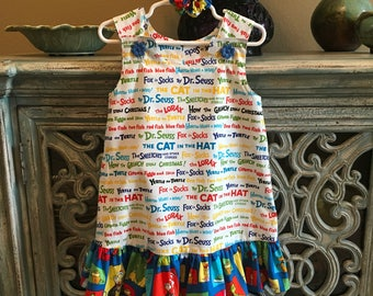 THE ANNA - Dr. Seuss Dress Cat In The Hat Dress w/Matching Ruffle, White Blue (baby, girls, toddler, infant, child) Jumper or Sundress