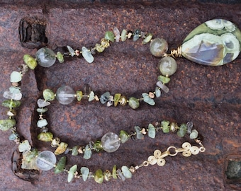 ENCHANTED FOREST Necklace (Rainforest Rhyolite, Moss Agate, Peridot, Smoky Quartz, Czech Crystal, 14K Gold-Filled Beads)