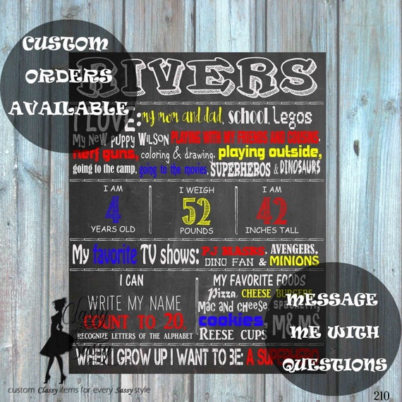 Custom Birthday Chalkboard Sign, Infographic Announcement Birthday Chalkboard Poster Birthday Chalkboard Birthday Photo Prop 128