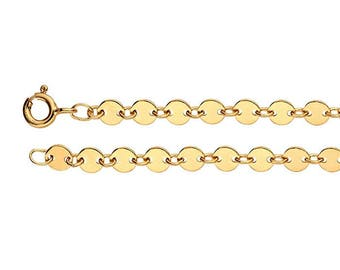 14K Yellow Gold-Filled Necklace or Bracelet - 4.1mm Flat Circle Disc Chain - Gold Coin Necklace - Bracelet or Necklace