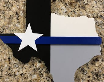 Wooden State of Texas Thin blue line