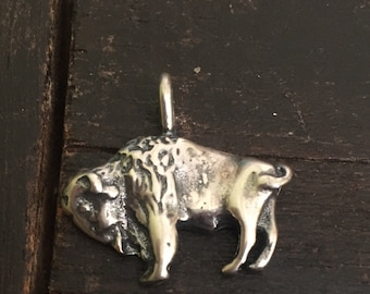 Buffalo charm made from silver alloy, buffalo pendent, buffalo jewelry, silver buffalo pendent, silver bufflalo charm, native buffalo jewelr