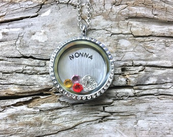 NONNA Birthstone Locket - Custom Floating Charm Locket for Grandma  - Memory Locket