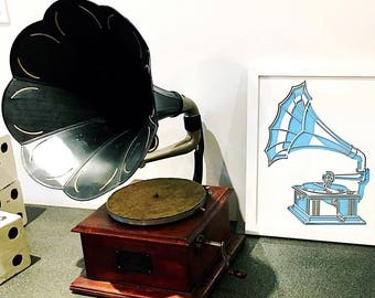 3D Stencil | Vintage Record Player