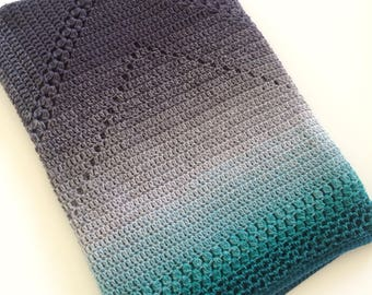 Teal and grey ombre granny square blanket, afghan, crochet lap blanket