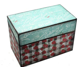 SALE Bridal Shower Recipe Box Vintage Inspired Strawberries and Plaid Red Blue Black Fits 4x6 Recipe Cards