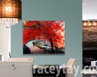 Nature Photography Canvas Central Park Print on Canvas Large Wall Art Canvas Red Rustic Wall Decor