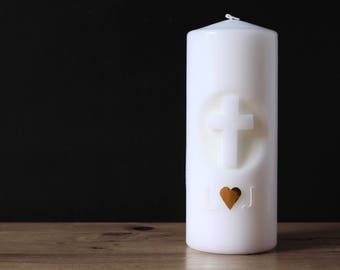 """Wedding Candle """"Cross and Goldherz."""" + Initials 20X8"""
