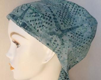Beautiful Light Teal Batik Hand Dyed Cancer Hat Chemo Scarf Cap Head Wrap Alopecia Turban Hair Loss Headcovering Bad Hair Day